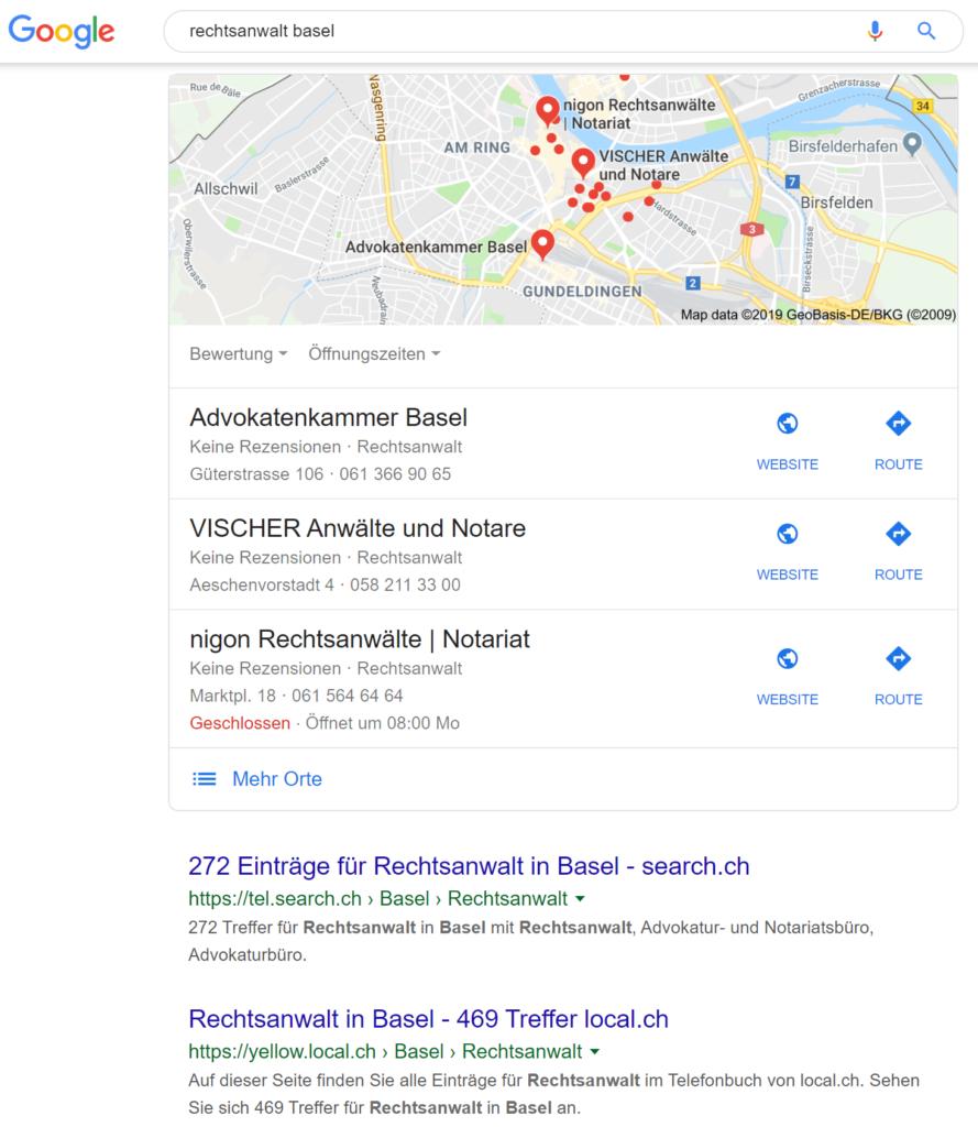 Suchresultatseite Rechtsanwalt Basel